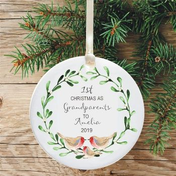 1st Christmas as a Grandparents Ceramic Keepsake Decoration - Robins and Mistletoe Design